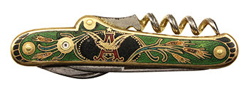 Reverse side of a Green Cloisonne Enamel Anheuser Busch Pocketknife with Stanhope Lens